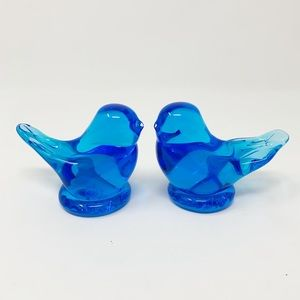 Two Vintage cobalt glass Bluebirds of Happiness